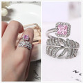 100% S925 silver sterling feather ring Pink Zirconia  for women  high quality fine jewelry open wedding rings Resizable J160703