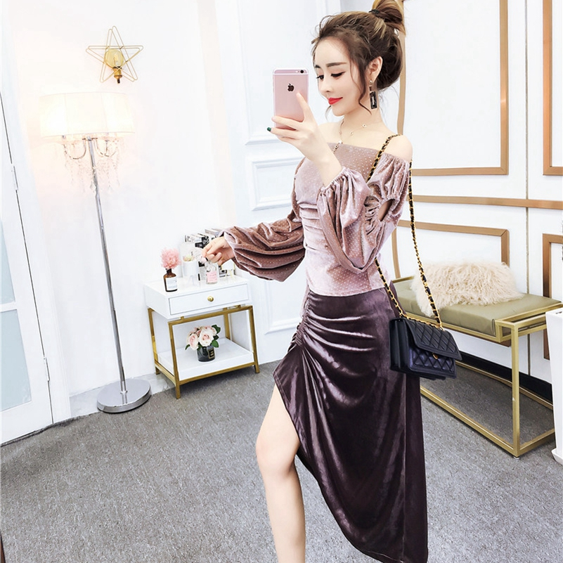 SexeMara The New Sexy word collar off-the-shoulder gold velvet top + drawstring pleated skirt two-piece suit  free shipping