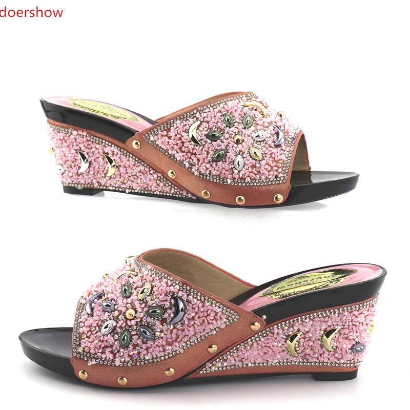 doershow Women wedding shoes Italian shoes possible matching bag lastest African shoes without bag adults lady  KGB1-12 doershow african shoes and bags fashion italian matching shoes and bag set nigerian high heels for wedding dress puw1 19