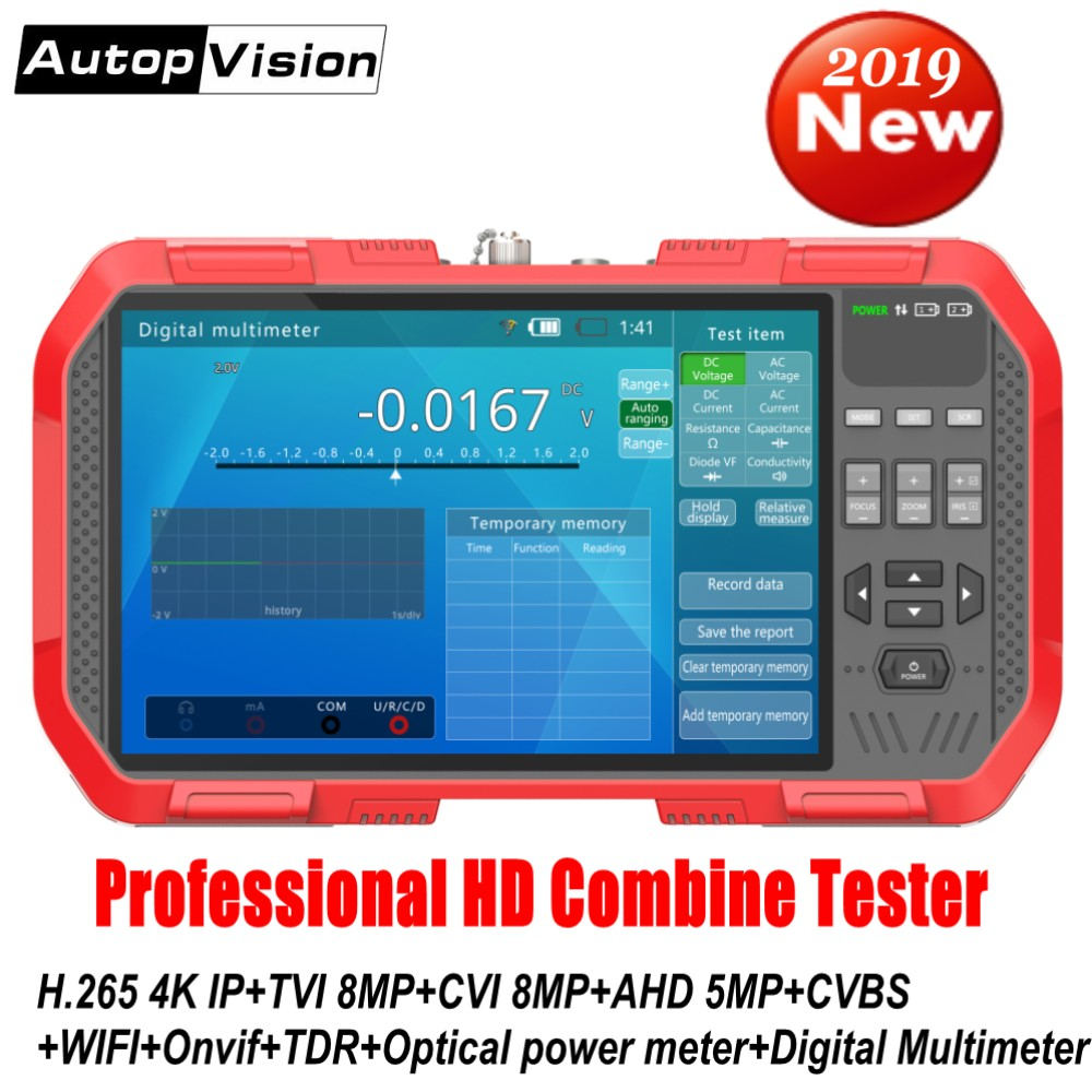 Newest 7 Inch H.265 4K IP camera tester 8MP TVI CVI 5MP AHD CVBS CCTV Tester Monitor with Multimeter Optical power meter DT A86-in CCTV Monitor & Display from Security & Protection