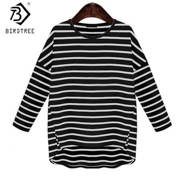 2fb79280d44a Fashion Women Stripe Irregular Cotton Shirt Black White Classic Shirts  Loose Long Sleeves O-. Mouse over to ...
