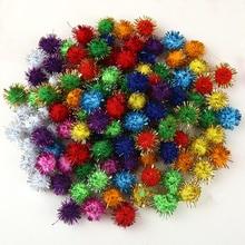 100 шт Золотая нить пушистый шарик-помпон для рукоделия из полиэстера 10 мм DIY вечерние шары для декора свадьбы для подарка на Рождество