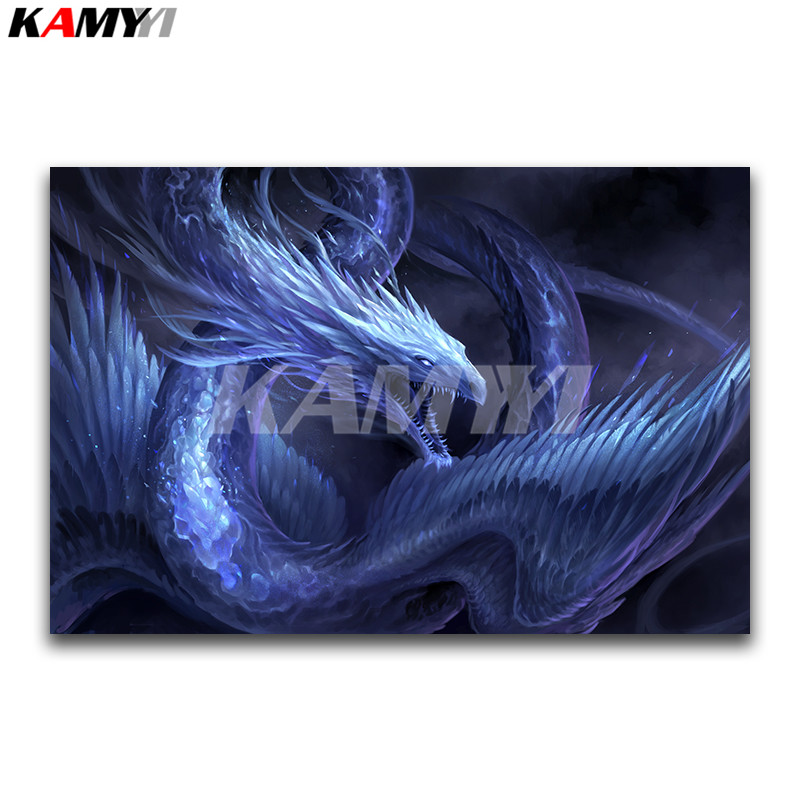 Full Square Diamond embroidery Cross stitch Cartoon Full Round Diamond mosaic snow Dragon 3D DIY Diamond painting winter