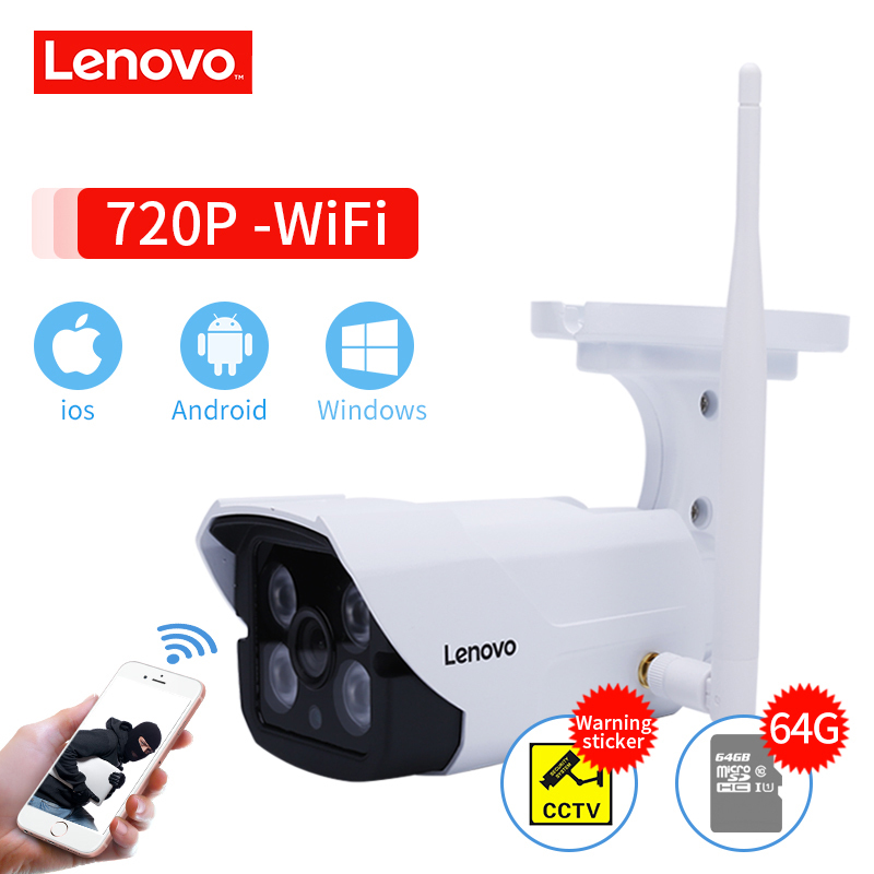LENOVO Outdoor Waterproof IP 720P Camera Wifi Wireless Surveillance Camera Built-in 64G Memory Card CCTV Camera Night Vision standard memory card in clear nintendo 64