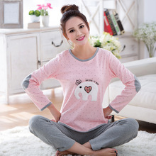 Cotton Pyjamas Ladies Cartoon Elephant printing Women Cotton Pajamas set Round Neck Plus measurement Sleepwear Suit combinaison pyjama