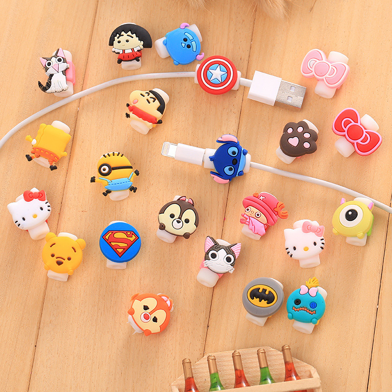 100pcs/lot Cartoon USB Cable Earphone Protector headphone line saver For Samsung HTC iPhone charging line data cable protection
