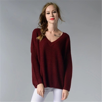 2018 New Women Classic V Neck Sweater And Pullovers Sexy Leaking Back Knit Shirt Spring Autumn
