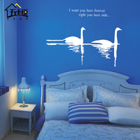 landscape fall Large lake Swan wall stickers, Swan Wall Decals 22 colors choose home decor decoration