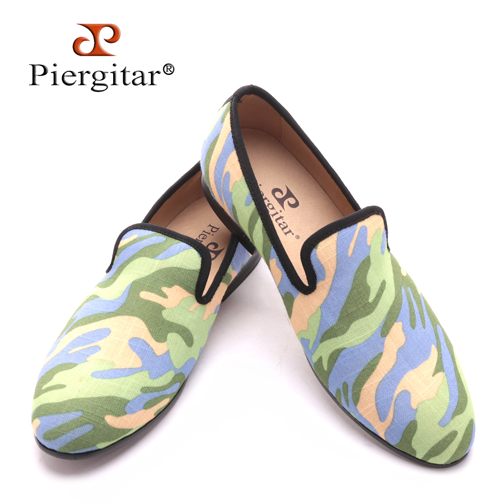 Handmade men army green and black camouflage loafers Man military style Plus size casual shoes fashion party smoking slippers