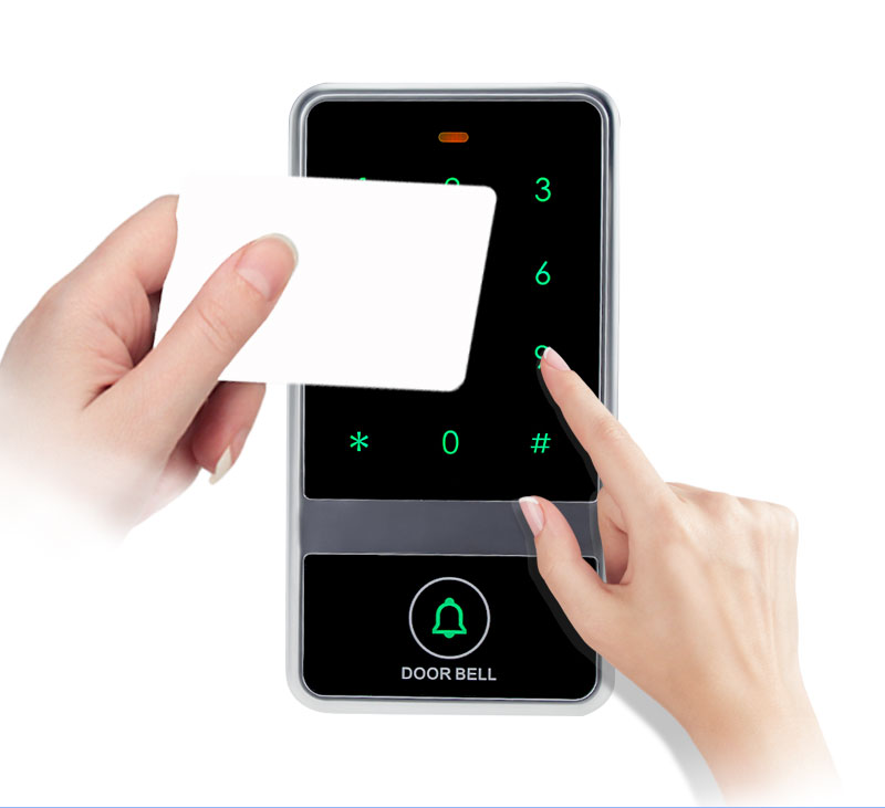 8000 users card waterproof access control keypad electric touch metal door locks+10 RFID Key Fobs for Door Access Control System