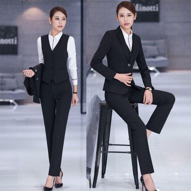 fc26abf2f677 Nueva Elegante Formal de La Manera Delgada Negro Profesional Con Chaquetas  + Pantalones + Chaleco Para