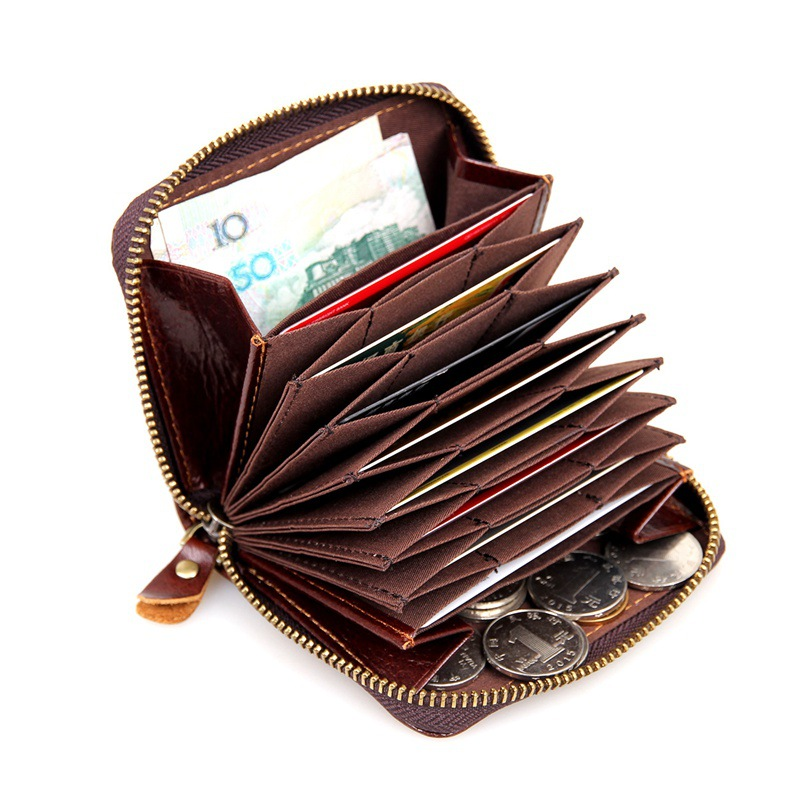 100% Genunie Leather Wallet RFID Business Credit Card Holder With 8 Card bit Key and Coin Purse for Men Porte Carte Bancaire