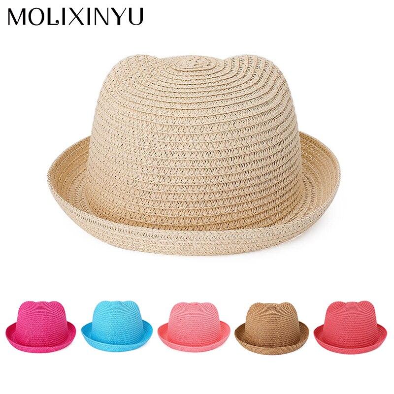 Accessories Hats & Caps Molixinyu Baby Cap Girls Straw Hat Cute Ears Children Summer Cap For Girls/boys Bucket Hat Baby Boys Beach Caps Sun Baby Hat