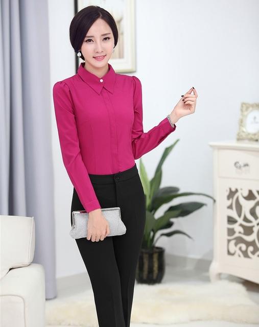 Novo Estilo Uniforme Pantsuits Tops E Calças ternos de Negócio Ternos Desgaste do Trabalho Com Blusas Escritório Senhoras Calças Set 2015 Primavera Outono