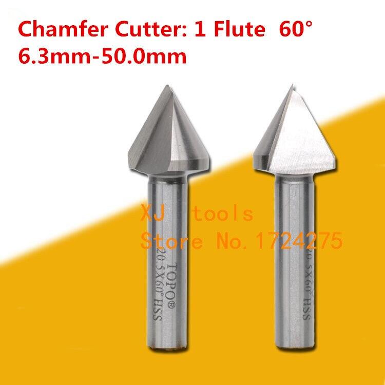 1pcs Hss 3Flute Chamfer Cutter End Mill Dia 45mm 90 Degree Chamfer Cutter 45×90°