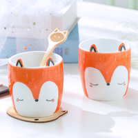 Creative Tea coffee mug ceramic fox milk cup home decor crafts room decoration porcelain figurine breakfast coffee animal cup