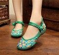 Velha Pequim Sapatos Mary Jane Pankou Estilo Denim das mulheres Calcanhar Plana com Bordado Sola Macia Sapatos Tradicionais Chineses