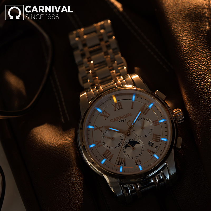 2017 CARNIVAL Permanent Glowing Mechanical Men Watch TopBrand Luxury Montre Classic Stainless Steel Waterproof Luminous relogio