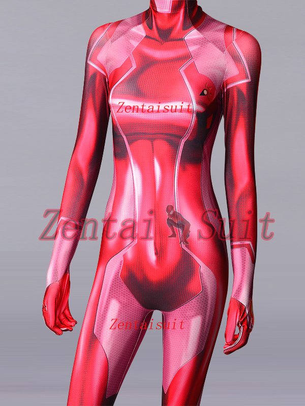 Pink Red Samus Zero Aran Cosplay Costume 3D Printing Spandex Lycra Zentai Bodysuit Suit Halloween Jumpsuits For Lady/Girl/Female