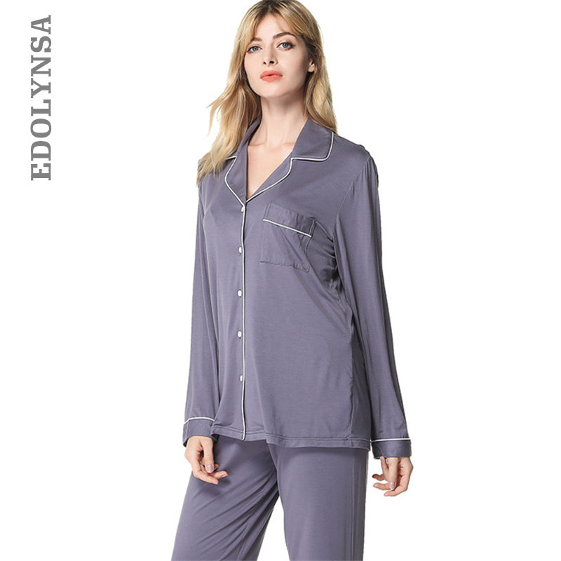Women Long Sleeve Button Casual Solid Pockets Satin Sleepwear Robes Pajamas Set