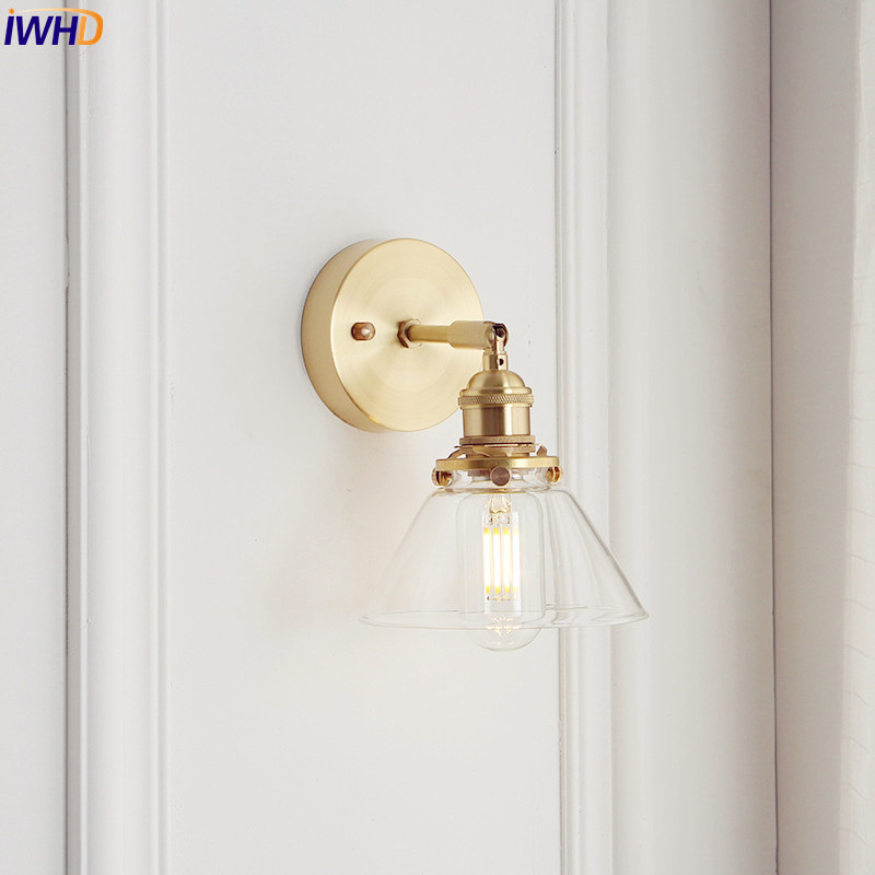 IWHD Copper Glass Wall Lamp Vintage Bedroom Bathroom Mirror Light Nordic Edison Wall Sconce Lights Home