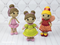 Amigurumi Crochet little lady girls rattle toy and doll
