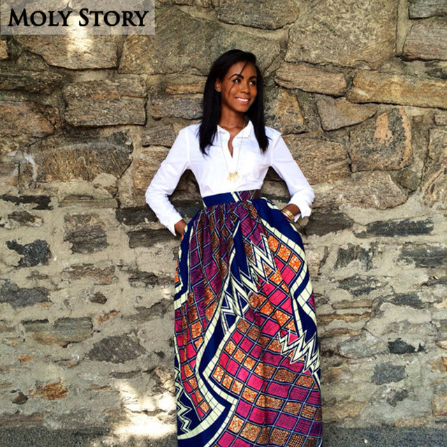 49f20716a1 Elegant Long Pleated Skirt Vintage African Print Skirt Ethnic High Waist Maxi  Skirts Jupe Longue Femme