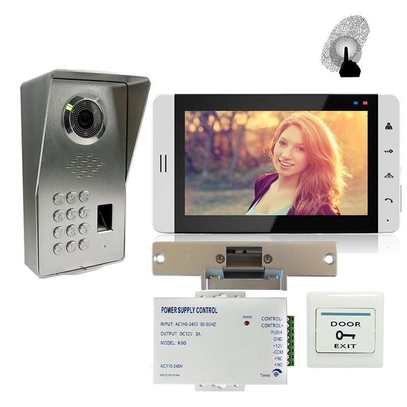 FREE SHIPPING Fingerprint Code 7 Touch Key Monitor Video Door Phone Intercom System Waterproof Door Camera Electric Strike Lock jeruan home 7 video door phone intercom system kit rfid waterproof touch key password keypad camera remote control in stock