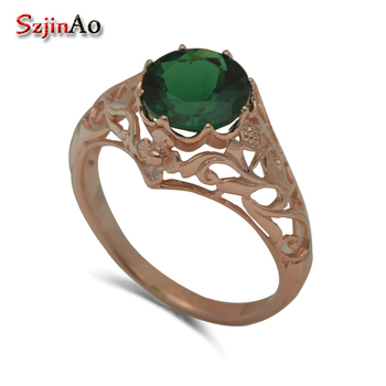Szjinao custom luxury royal jewelry rose gold color engraved designs emerald queen temperament 925 silver ring