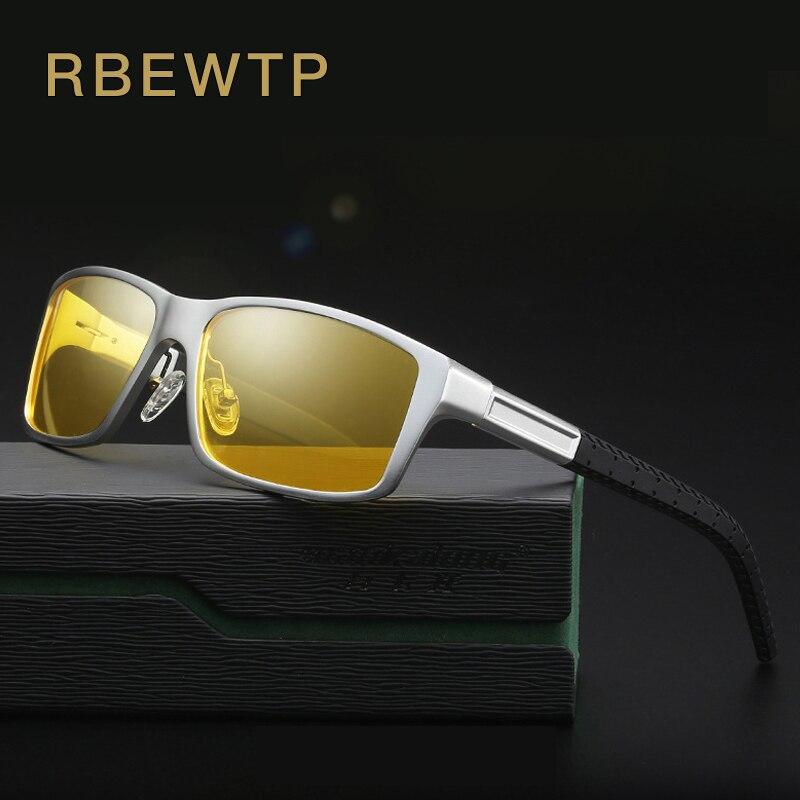 RBEWTP Night Vision Glasses Aluminum Magnesium Men's Sunglasses Polarized Square Mirror oculos Male Eyewear Accessories For Men brand aluminum magnesium men s sun glasses polarized mirror lens outdoor eyewear accessories sunglasses for men