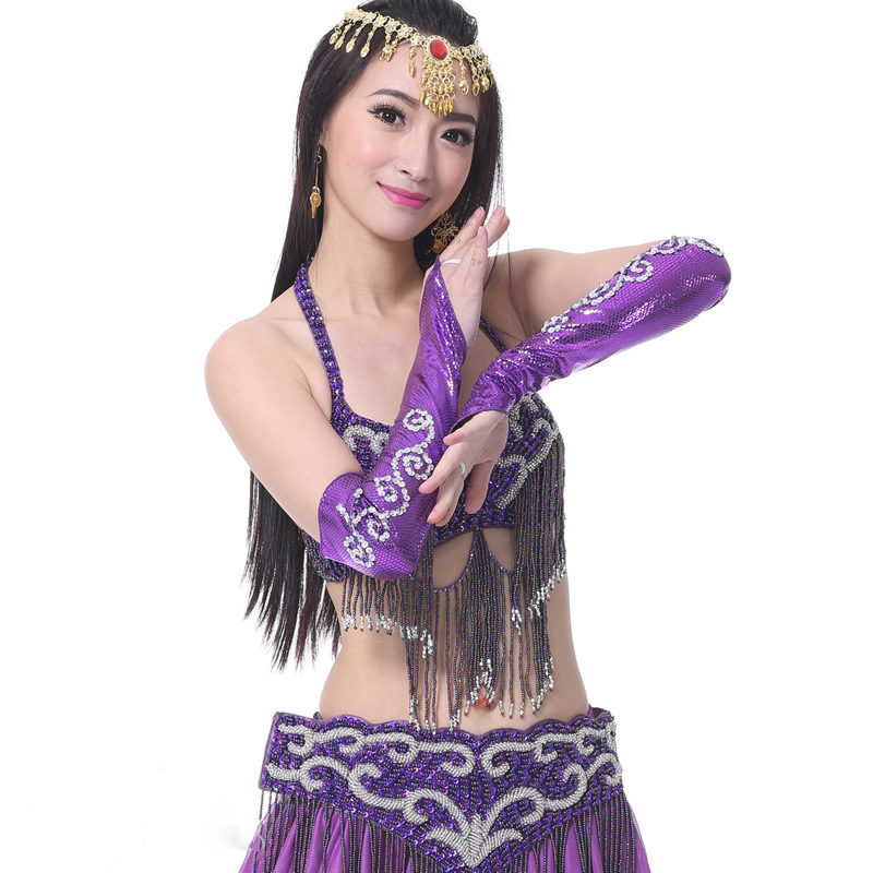1 Pairs Belly Dance Costume Accessories Arm Sleeves Wrist Sleeve Snakeskin With Sequins Armbands For Latin Dance