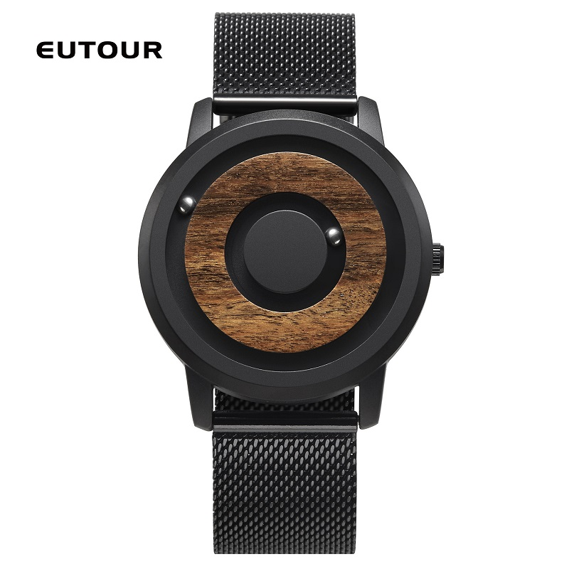 EUTOUR Couple Watch Magnetic Drive Ball Show Wood Wrist Watches For Women Quartz Man Watch S Fashion Teel Leather Canvas Strap