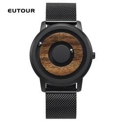 EUTOUR Paar Uhr Magnetische Stick Ball Zeigen Holz Handgelenk Uhren Für Frauen Quarz Mann Uhr S Mode Teel Leder Leinwand strap