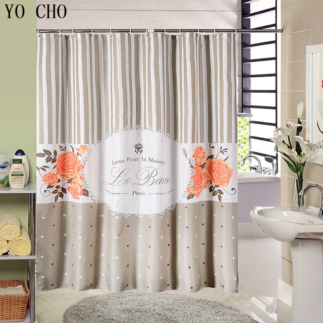 Gray Waterproof Fabric Shower Curtain Environmental Polyester Bath Curtain  Stripe Paris Flower Vintage Bathroom Shower