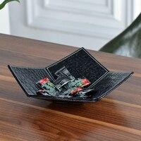 High grade creative cortex snack dried fruit plate melon seeds candy box tray fashion European style change key storage plate