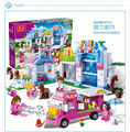 543 unids house building block para niñas banbao tienda de mascotas regalo ensamblar bloques de construcción de ladrillo juguetes compatible con lego bloque