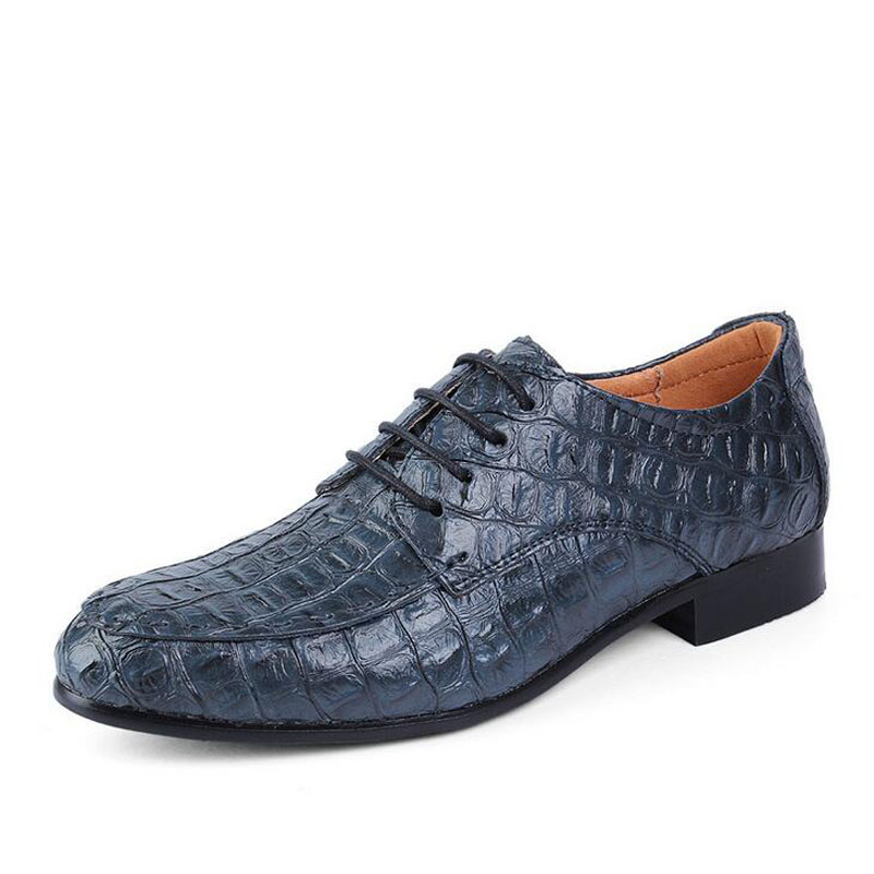 2018 New Arrival Men Fashion Casual Leather Dress Shoes Pointed Toe Crocodile Grain Lace-up Flat Shoe Breathable Plus Size 38-49