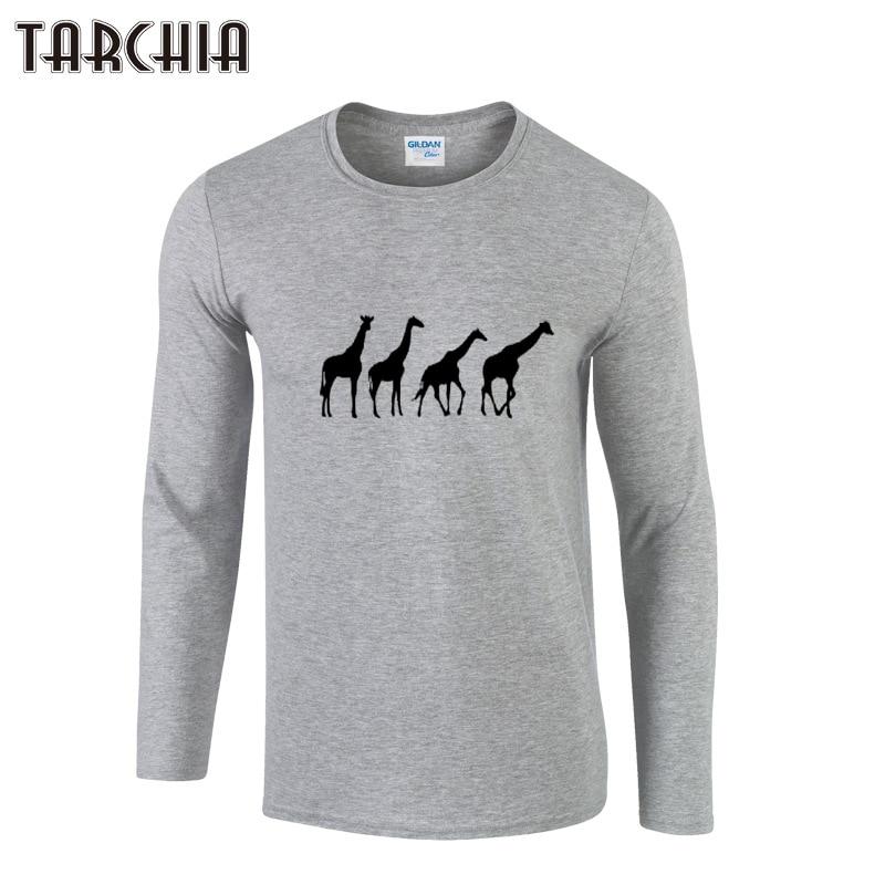 TARCHIIA Men Tops Fashion Giraffe Printed Slim Gray Black White T Shirts Man Long Sleeve T-Shirts Primer Bottoming Tee Shirts