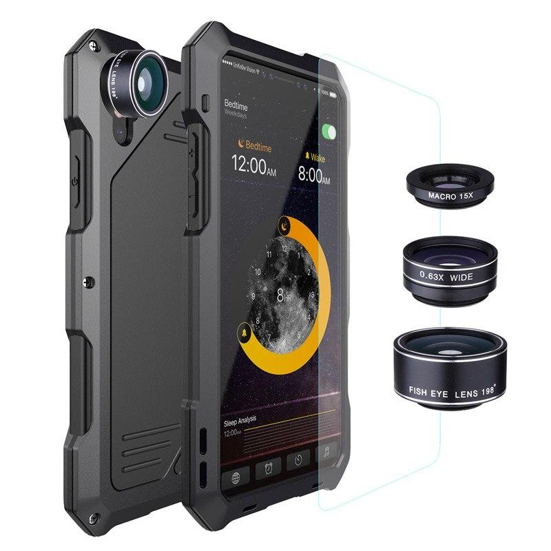 3 lentille + Trempé Verre Téléphone cas retour logement maison style verre de couverture arrière pour iphone X 5 5S 6 6 S 7 7 S 8 S Plus SE anfon