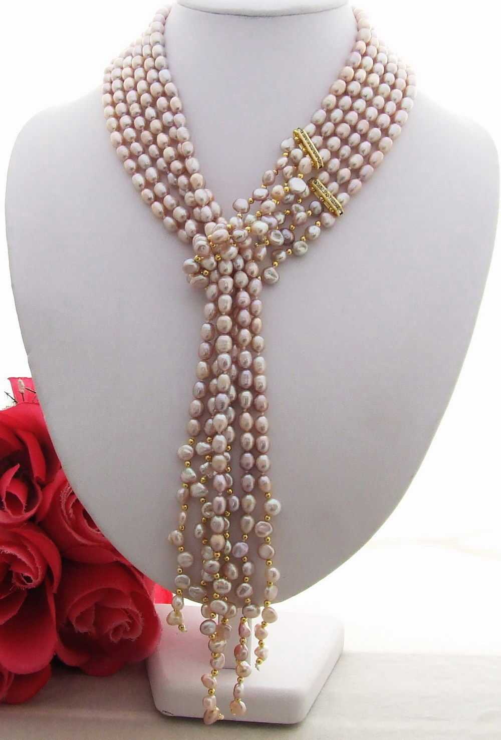 "FREE SHIPPING>>>@@ > 08151 Excellent 50"" Purple Pearl&keshi Pearl Necklace"