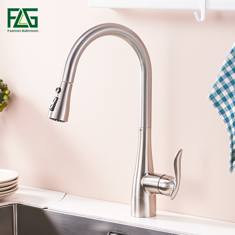 FLG Brushed Nickel Kitchen Faucet Pull Down Out Kitchen Tap Single Handle Brass Faucets Cold and Hot Water Sink Mixer 792-33N pull out kitchen faucet brass single holder put down hot and cold water mixer sink tap black