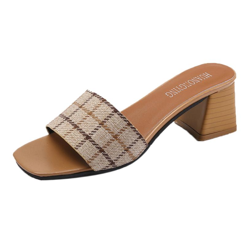 Women Stripe Lattice Slippers Fashion High Heels Sandals Bohemia Flip Flop Shoes Woman Peep Toe Casual Shoes Low Heels Sandalia