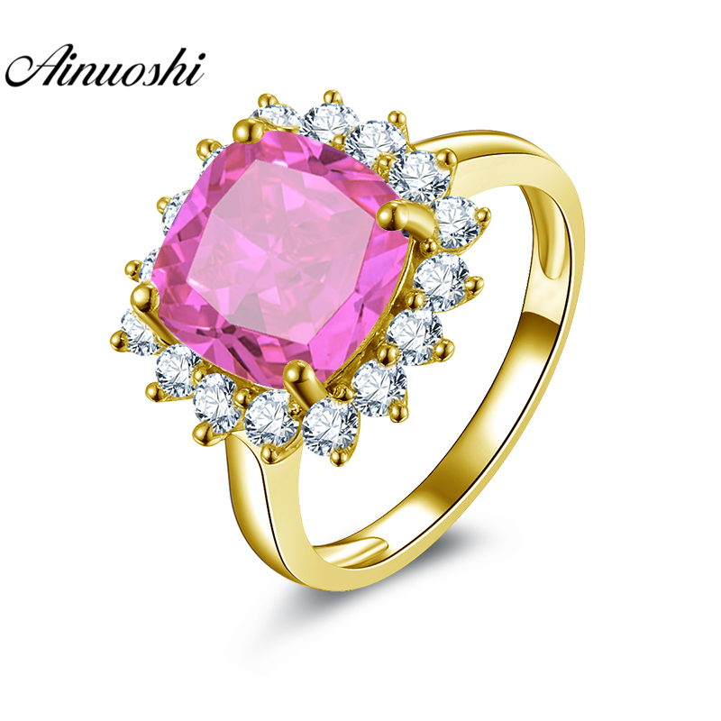 AINUOSHI 10K Solid Yellow Gold Square Halo Ring 5ct Cushion Cut Pink Stone Ring Luxurious Wedding Engagement Jewelry Women Ring