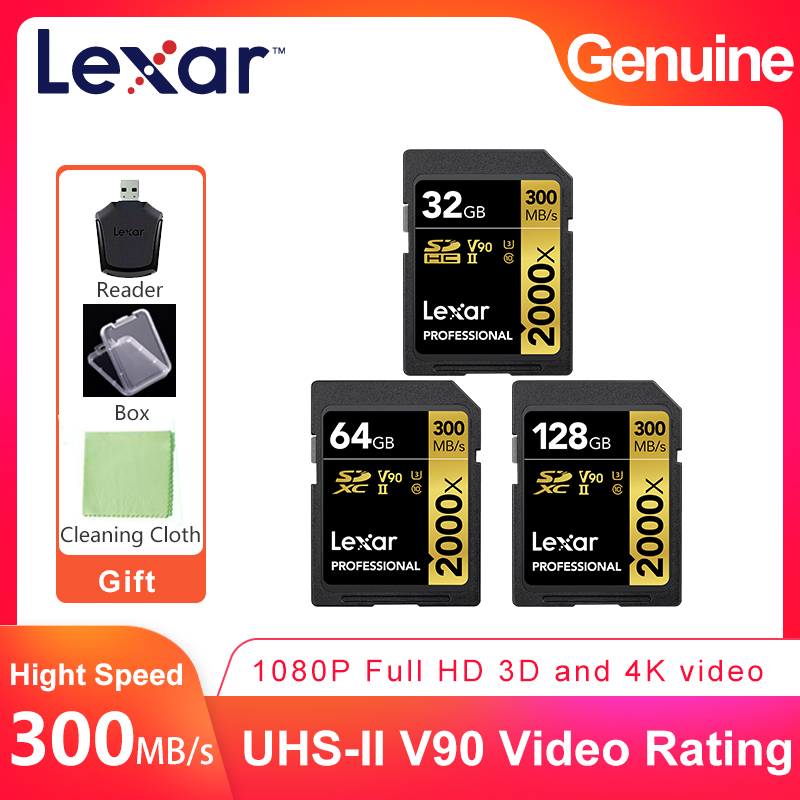 Lexar Professional 2000x 300Mb s High Speed SD SDHC SDXC 32GB 64GB 128GB UHS II U3