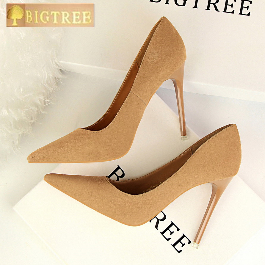 5 Colors Concise Women's OL Office Shoes 2018 New Show Thin Women Pumps Solid Flock Pointed Toe Shallow Fashion High Heels Shoes
