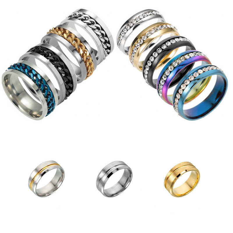 Fashion Men's Ring The Punk Rock Accessories Stainless Steel Black Chain Spinner Rings For Men 12 Color