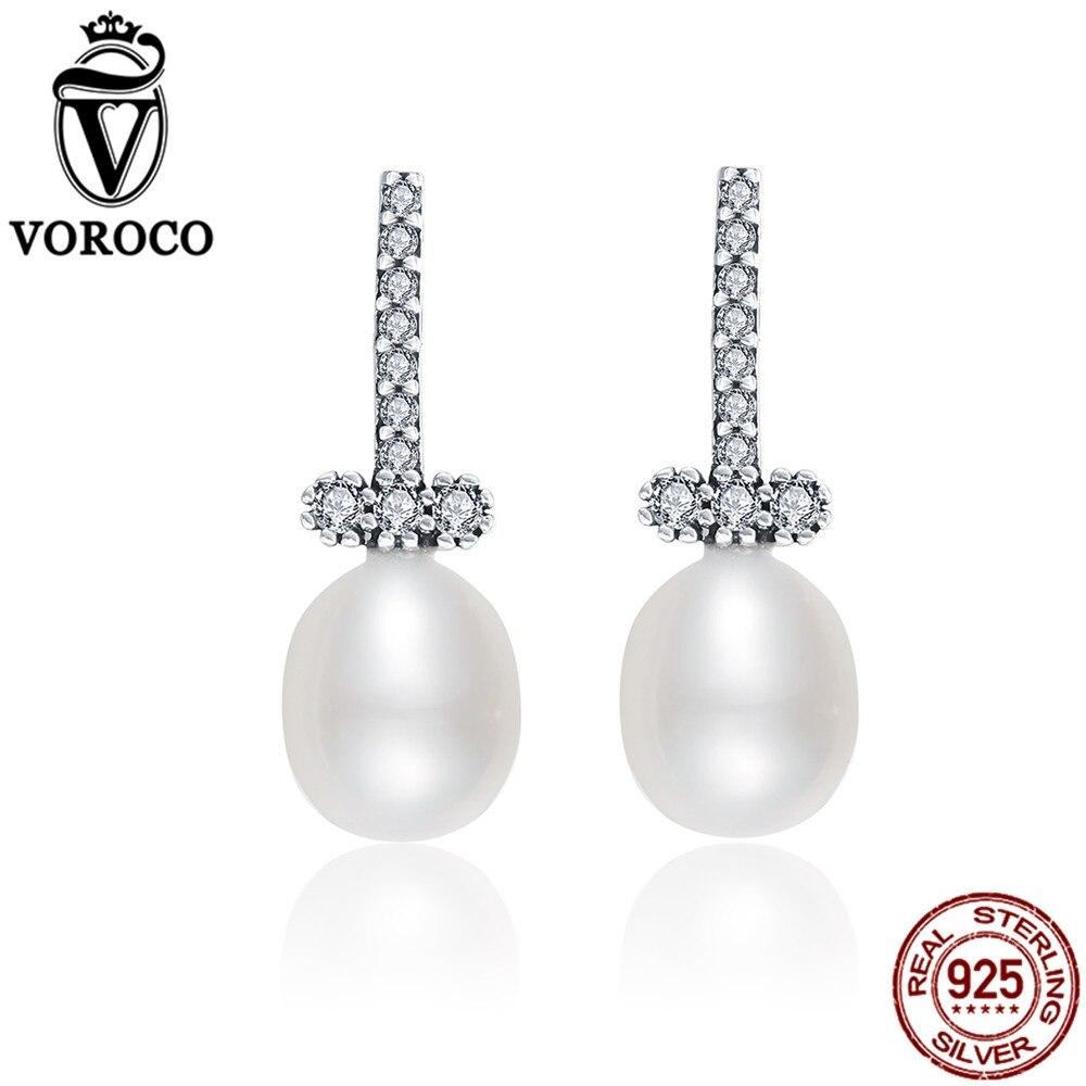 VOROCO Drop-Earrings Fine-Jewelry Pearls 925-Sterling-Silver Elegant Freshwater White