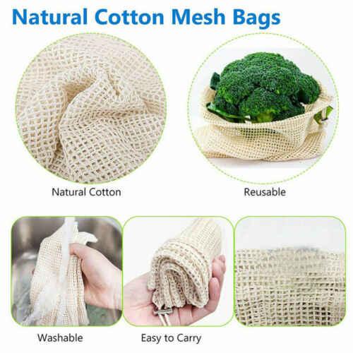 Mesh Drawstring Washable Vegetable Fruit Grocery Bag Storage Pouch Handbag Totes Shopping Mesh Net Woven Bag Kitchen Organizer