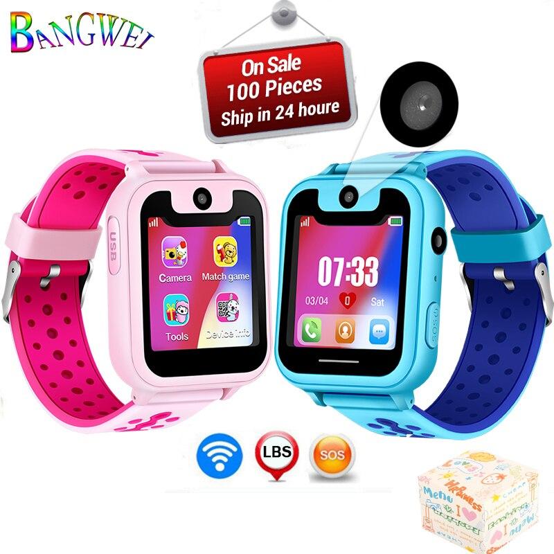 BANGWEI Montre Téléphone Portable des Enfants Enfant LBS Positionnement Surveillance À Distance Éclairage D'urgence SOS Téléphone Kid Montre Smart Watch chat Vocal