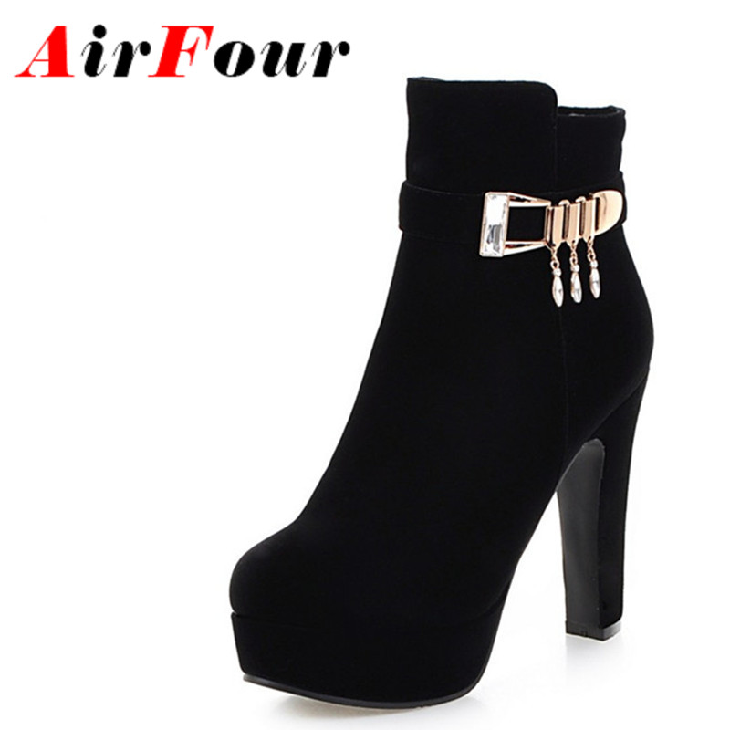ФОТО Airfour Buckle Strap Charms Shoes Woman High Heels Ankle Boots for Women Winter Sexy Red Boots Platform Round Toe Size 34-43